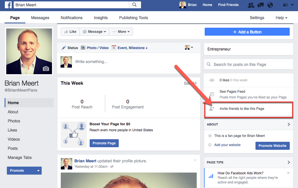 How to invite friends to like your facebook fan page 2