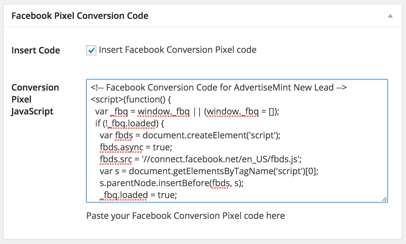 facebook-conversion-pixel-wordpress-installed