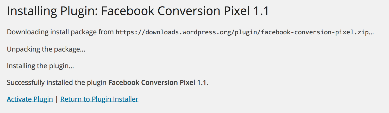 facebook conversion pixel activated