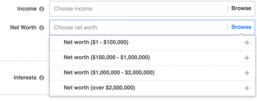 facebook ad targeting income and net worth