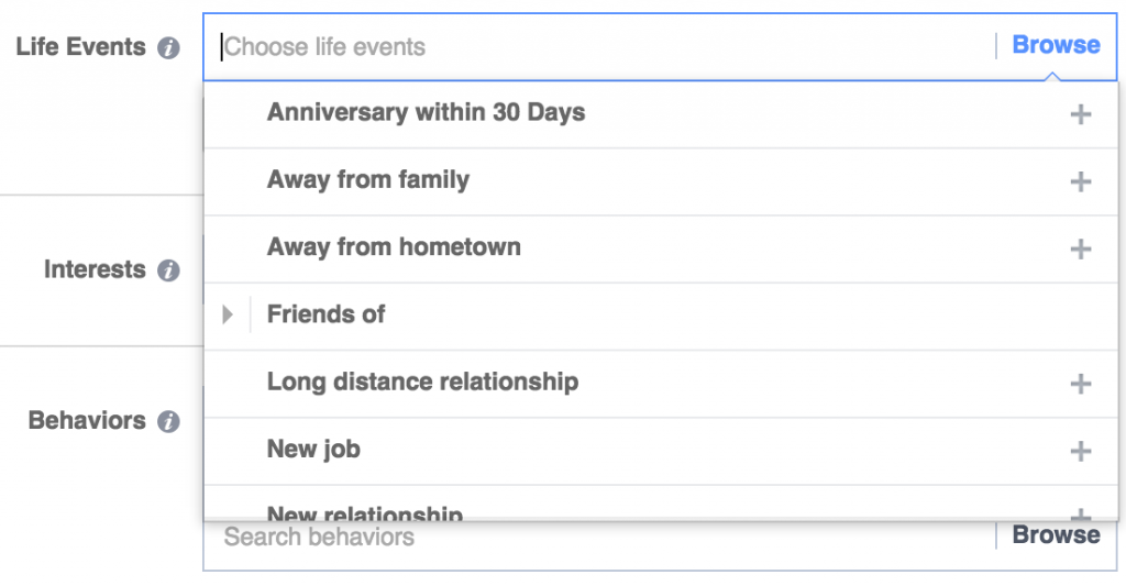 facebook ad targeting life events