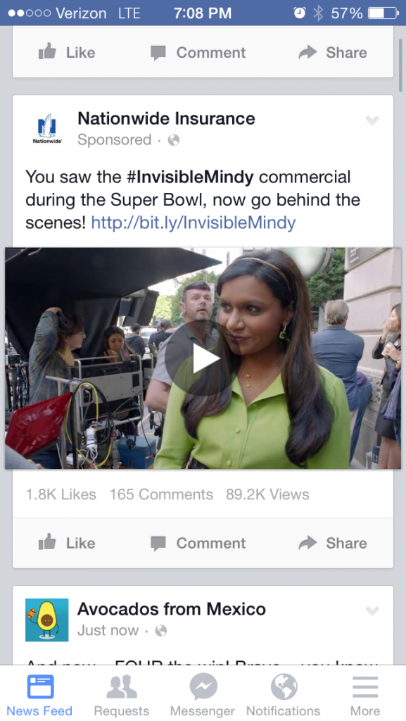 Nationwide Super Bowl Facebook Ad Insurance Mindy
