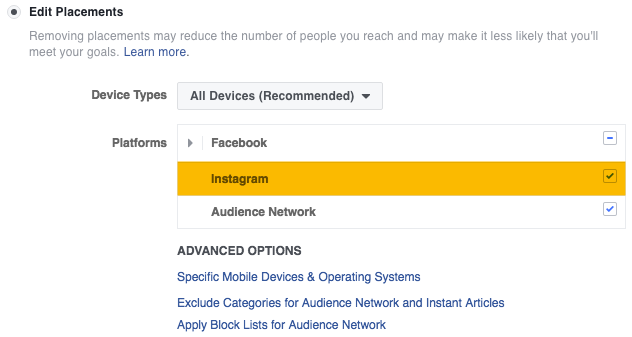 while single image video and carousel ads are eligible for placement on instagram canvas and slideshow ads are not objectives