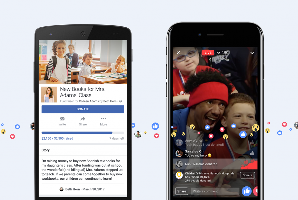 Facebook Launches Fundraising Feature to Live Videos