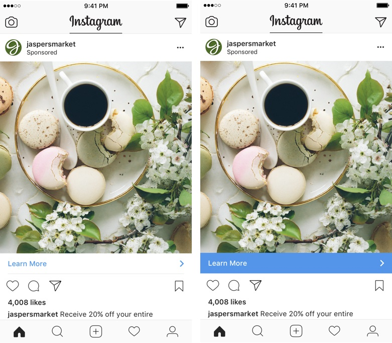 2ced977021c Instagram Call-to-Action Bar Now Automatically Matches Colors in ...