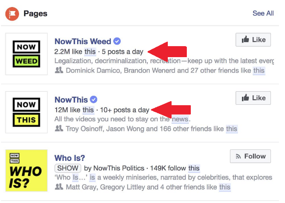 Page Post Frequency Now Visible in Facebook Search Results